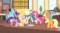 Rarity's friends around a dressed mannequin S4E08