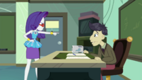 Rarity pointing her finger at Mr. Doodle CYOE10b