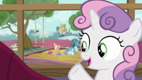 Sweetie Belle --Scootaloo's keeping Petunia busy-- S6E19