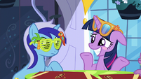 Twilight blushing and shrugging S5E12