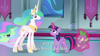 Twilight excuses herself and Spike from Celestia S8E7