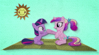 Young Twilight and Cadance clap their hooves BFHHS1