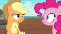 Applejack glaring at Pinkie Pie S6E22.png