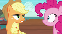 Applejack glaring at Pinkie Pie S6E22