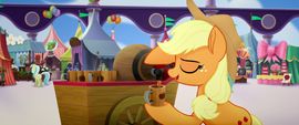Applejack pouring another cup of cider MLPTM