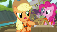 Applejack pulls on steering wheel S4E09