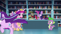 Cadance, Twilight, and Spike sees Starlight running off S6E2.png