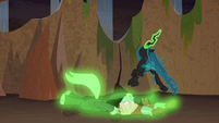 Chrysalis forces Tirek and Cozy on the floor S9E8