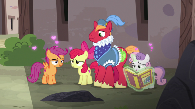 File:Cutie Mark Crusaders swooning over the fairy tale S7E8.png