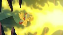 Flash shields himself against Torch's fire breath S7E16