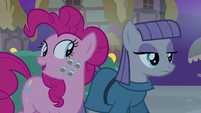 Pinkie Pie wearing stickers on her cheek S8E3