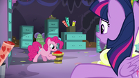 Pinkie Pie with a bucket of cherries S9E26