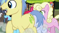 Ponies racing in front of Apple Bloom S7E13