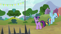 Rainbow hovering away in defeat S8E20