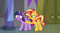 Sunset Shimmer telling Twilight to breathe EGFF