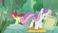 Sweetie Belle jumping across a pond S9E22