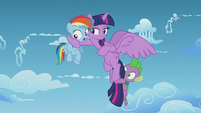 Twilight puts a hoof around Rainbow Dash S5E25