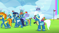 Wonderbolts give Rainbow and her parents privacy S7E7.png