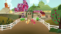 Applejack and Big Mac outside the Sweet Apple Acres gates S6E23