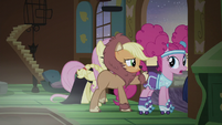 Applejack and Pinkie leave the cottage S5E21