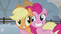 Applejack and Pinkie smiling together S5E20.png
