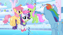 Dizzy Twister and Merry May carry Rarity S1E16