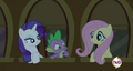 Fluttershy, Spike and Rarity chatting at the window S2E25.png
