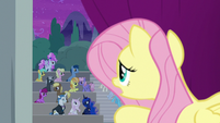 Fluttershy looking out at the audience S8E7