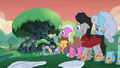 Long line of sick ponies at Meadowbrook's house S7E20.png