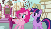 Pinkie Pie leaving the mailbox S3E07