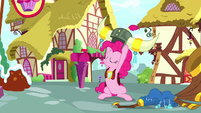 Pinkie Pie taking off her yak horns S8E18
