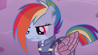 Rainbow Dash looking down at an enemy S5E25