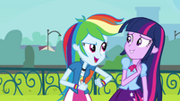 Rainbow playfully punches Twilight's arm EG