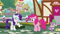 Rarity laughs off Pinkie and Spike's guesses S7E9