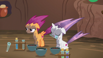 Scootaloo blows test tube out of her mouth S6E4