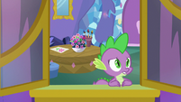 Spike looks out the window in sorrow S8E24