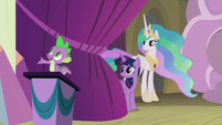 Spike narrates; Twilight and Celestia off-stage S8E7