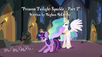 Twilight slides in front of Princess Celestia S4E2