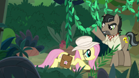 Fluttershy crouches under jungle vines S9E21