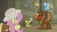 Fluttershy tries talking to guardian-goyles S9E21