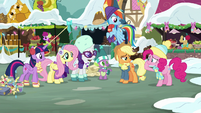 Main ponies and Spike look at Pinkie MLPBGE