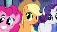 Pinkie Pie, Applejack, and Rarity listening to Luna EG