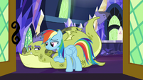 Rainbow Dash leaning on Sludge S8E24