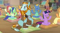 Rockhoof sees other ponies meditating S8E21