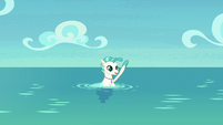 Terramar waves to ponies from the water S8E6
