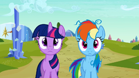 Twilight and Rainbow Dash blank expression S3E12