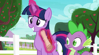 Twilight gives Spike the scroll and quill once more S6E22