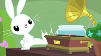 Angel Bunny kicks the gramophone MLPS3
