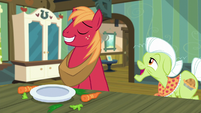 Big Mac grinning; Granny Smith asks him S5E17