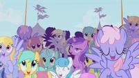 Crowd cheering for Rainbow Dash S1E03